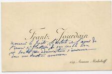 Lettre manuscrite Frantz Jourdain sur Carte de Visite à Hélène Jung Architecture