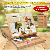 Portable Wooden Drawers Artist Table Desk Top Easel Stand Sketch Box Painting
