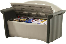 Olive & Sandstone Patio Storage Bench Outdoor Garden Plastic Seat