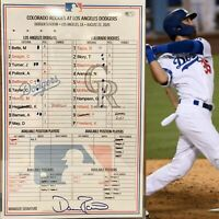 8/22/20 Dodgers GAME USED DUGOUT Lineup Card BELLINGER WALK-OFF 2020 MLB COA🏆