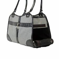 New Fashion Houndstooth Print Pet Cat Animal Soft Tote Bag Carrier Black - 009