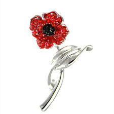 Remembrance Day Poppy On Stem 4 Petals Brooch Enamel Crystal Charity Donation