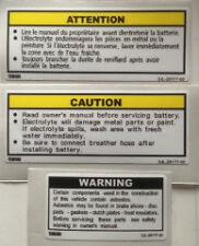 Yamaha tdr250 Batería Panel Lateral Precaución Advertencia calcomanías X 3