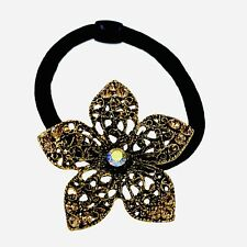 Flower Hair Rope Wrap Rhinestone Crystal Scrunchies Ponytail Holder Brown F61