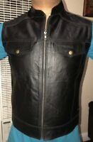 Men's Black Buffalo Split Leather Vest Biker Coat-motorcycle Jacket Brand New