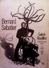 Affiche vintage d'exposition Bernard Sabatier / Galerie Roudillon / Paris-1971