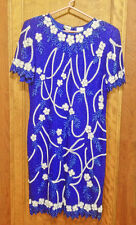 PATRA Royal Blue Beaded with White Pearls and Beads Applique Evening Dress