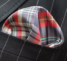 Hankie Pocket Square Handkerchief Red Blue Green & White Tartan
