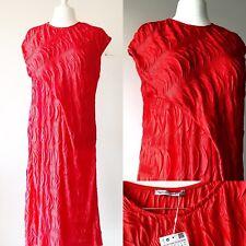 ZARA Women Red Crinkle Minimal Dress 12 14 Midi Texture Party Xmas Floaty Cool