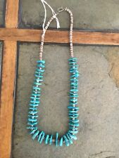 VINTAGE N.A. NAVAJO HANDMADE GENUINE TURQUOISE AND HEISHI BEAD NECKLACE