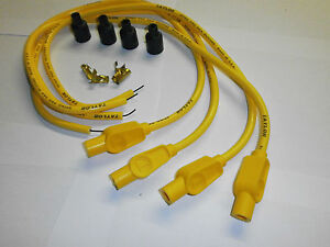 Yamaha air cooled 4 cylinder Taylor ignition leads and caps in yellow.
