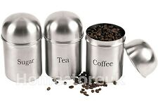 DOME LID SET OF 3 TEA COFFEE SUGAR CANISTERS JAR STORAGE BRUSHED STAINLESS STEEL