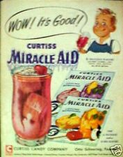 1954 Curtiss Candy Miracle Aid Raspberry~Orange~Lemon~Grape Drink Kitchen AD