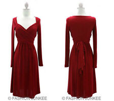 RED FF1 LONG SLEEVE CROSSOVER Faux Wrap Dress Knee Length Plus XL 2XL 3XL SIZE