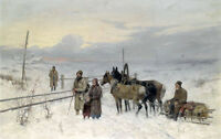 Stunning Oil painting farmers with Horse-drawn sleigh in winter snow landscape