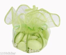 3 Ballotins Bourses Organza Vert Dragées Décoration de Table MARIAGE/BAPTEME