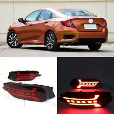 LED Rear Bumper Reflector Fog Brake Turn Indicator Lights For Honda Civic D 16+