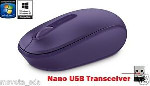NEW Microsoft Wireless Mobile Mouse 1850 PURPLE Nano USB Transceiver Windows 10