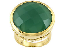 Lovely 18.83ct Green Onyx 18k Yellow Gold Over Sterling Silver Ring Size 6