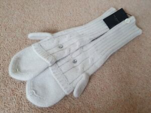 Ted Baker angora mix gloves mittens ivory cream knitted long new cosy