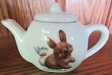 1999 Morehead Little Brown Bunny Rabbit Blue Bird China Childs Tea Set Adorable