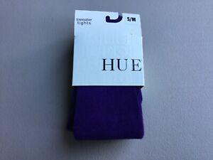 NWT Women's Hue Micro Rib Sweater Tights Size S/M Purple Heart #1040G