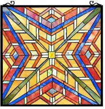 "24"" x 24""  Mission Maze Tiffany Style Stained Glass Window Panel w/ Chain"