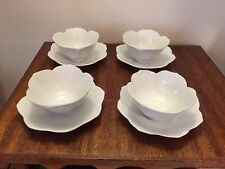 "Vintage White Porcelain 4 1/2"" Lotus Rice Soup Bowls and Saucers 6""  Set of 4"