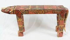 New ListingIndonesian Folk Art 32� Carved Wood Painted Jungle Cat Sculpture Bench Table