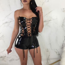 Sexy Women Off Shoulder Eyelet Bodycon Leatheroid Jumpsuit Lace Up Short Rompers
