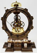 Unusual Time Machine Clock Steampunk Mantel Bell Cogs Skeleton Industrial Gift