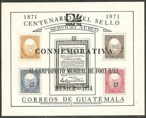 GUATEMALA Sc# C458 var MNH FVF Souvenir Sht Munich Soccer Overprint