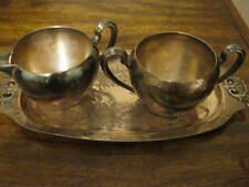 Collectible Silverplate Creamer Sugar Bowl and Tray - Roman Creation - Rare Mark