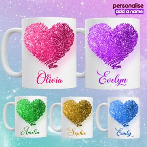 Personalised Printed GLITTER Effect Heart Mug Tea Coffee Cup Girls Birthday Gift
