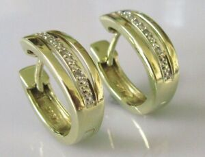 Gold Diamond Earrings - 9ct Yellow Gold Diamond Horse Shoe Earrings
