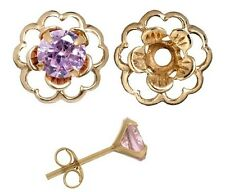 Earring Set-Pink Cubic Zirconia & Gold over Silver Flower Earring Jacket