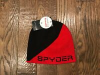 SPYDER Black & Red Colorblock REVERSIBLE Logo Knit Beanie HAT Mens One Size  NEW