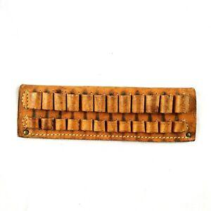 "Vintage Hunters Brown Leather Ammo Bullet Belt 8"" Holster Western Style 506"