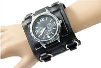 Men's Watch 7.5cm Wide Real Leather punk gothic style Leather watches