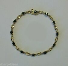 "Ladies Link Bracelet - 12 Genuine Diamonds & 12 Sapphires - 10k Yellow Gold - 7"""