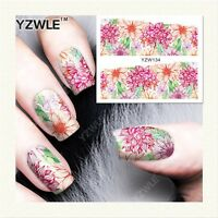 Nail Art Water Decals Stickers Transfers Peach Spring Flowers Gel Polish YZW134