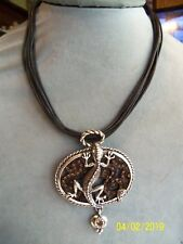 Chico'S Large Lizard Pendant On Black Cord Chain Vintage