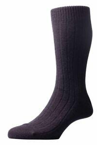 Pantherella Mens Waddington Rib Luxury Cashmere Socks - Black