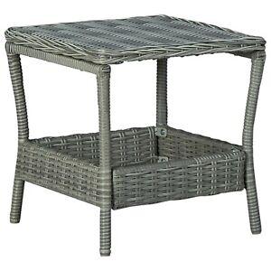 Poly Rattan Outdoor Coffee Table Garden Patio Furniture Grey Square Tea Desk