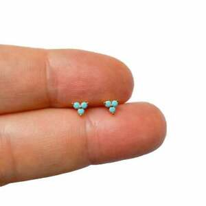 Beauty Turquoise Cartilage Ear Helix Stud Gift For Her in18K Yellow Gold Overlay