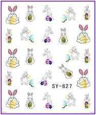 Nail Art Pegatinas Calcomanías de agua transfiere Easter Bunny Conejo huevos de pollo (827)