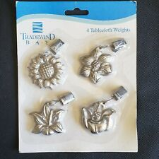 Nos Tradewind Bay Tablecloth Weights, Set of 4~Flowers silver colored
