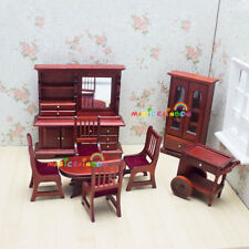 Dining Room Furniture Cupboard Table Chairs Cart Dolls house Miniatures 1:12