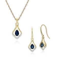 9ct Yellow Gold Sapphire & Diamond Leaf Drop Earring & 45cm Necklace Set