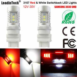 2x 3157 Switchback LED Lights SAMSUNG SMD Red White LED Parking Turn Signal Bulb